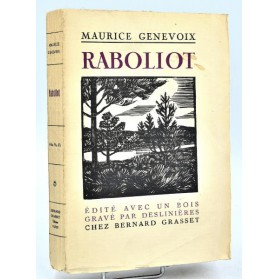 Maurice Genevoix : RABOLIOT -1925. Edition originale numérotée-Couv. alternative