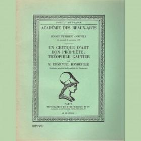 Un critique d'art bon prophète: Théophile Gautier