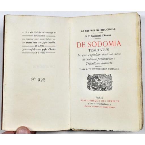 Curiosa, DE SODOMIA TARCTATUS. R.P. Sinistrari d'Ameno. 1912.