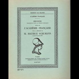 Réception de M. Maurice Schumann