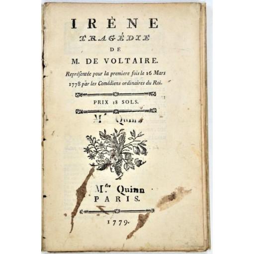 Voltaire : IRENE, Tragédie... 1779